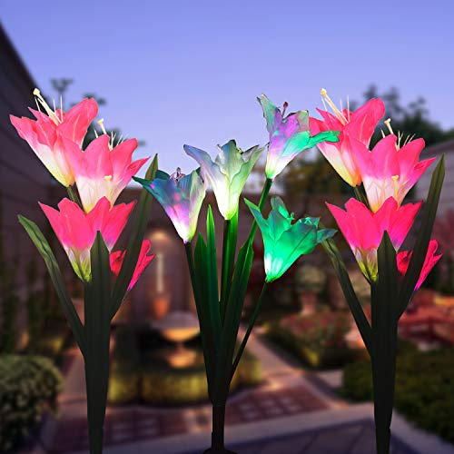 (WOHOME Outdoor Solar Garden Stake Lights,3 Pack Solar Flower Lights with 12 Lily Flower, Multi-Color Changing LED Solar Landscape Lighting Light for Garden,)