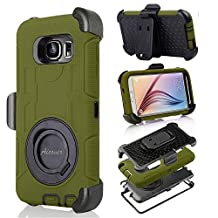 S6 Case, Galaxy S6 Case, Aitech Ultra Shock&drop-proof Amy-grade Protective Hard Defender Case and Three Layer Hard Shell Cover Holster with 360 Degree Rotating Ring Bracket Protective Case for Samsung Galaxy S6-- TPU Rubber & Silicone Case with Stand & Clip for Samsung Galaxy S6 (Army Green+Black)