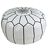 JAKANI Cuir Handmade Moroccan Leather Pouf, Ottoman Footstool Hassock 100% Real Natural Leather pouffe, White with Black Stitching Unstuffed Review