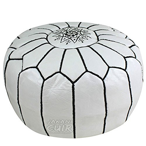 JAKANI Cuir Handmade Moroccan Leather Pouf, Ottoman Footstool Hassock 100% real Natural Leather pouffe, White with Black Stitching Unstuffed by JAKANI Cuir