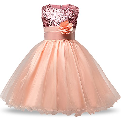 NNJXD Girl Flower Sequin Princess Tutu Tulle Baby Party Dress Size (140) 5-6 Years Pink