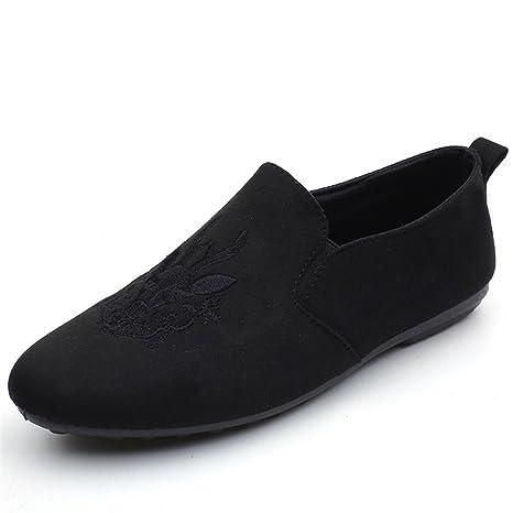 Zapatos casuales de los hombres 2018 nuevos zapatos de los guisantes mocasines planos del bordado Comodidad