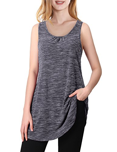 Vivilli Athletic Clothes For Women, Womens Sleeveless Round Neck Active Running Gym Racerback Sports Clothes Moisture Wicking Shirts Plus Size Workout Tanks Grey XXL