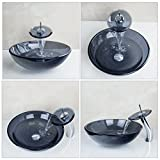 OUBONI-Bathroom-Round-Grey-Blue-Clear-Glass-Vessel-Sink-Basin-with-Match-Waterfall-Faucet-Pop-Up-Drain-Included-JN10004