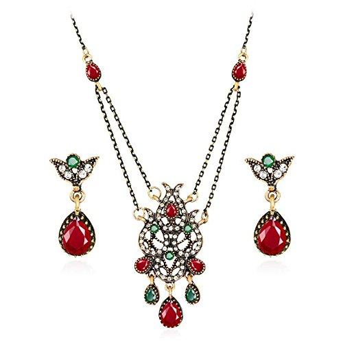 Vintage Crystal Tulips Necklace Earrings Set Tassel Chandelier Pendants Jewelry Sets (Tulip Bezel Setting)