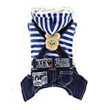 Cartoon Jeans Hooded Striped Rabbit Pet Dog Teddy Four-legged jumpsuit Clothes (M Back:29CM Bust:43CM, Blue) For Sale