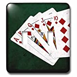 3dRose Alexis Photo-Art - Poker Hands - Poker Hands Royal Flush Diamonds - Light Switch Covers - double toggle switch (lsp_270298_2)