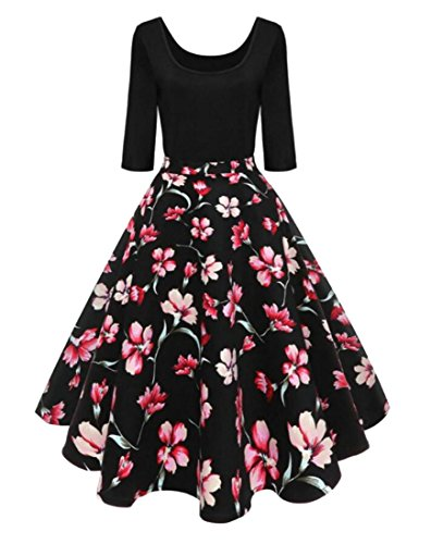 Dress Print Women's Casual Jaycargogo Sleeve Patchwork Party 3 Floral Swing 1 4 Puffy STdwPZ