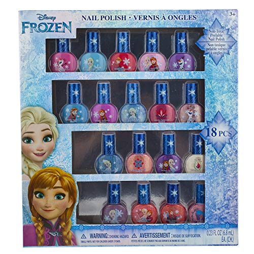 Townley Girl Disney Frozen Non-Toxic Peel-Off Nail Polish Set for Girls, Glittery and Opaque Colors, Ages 3+ (18 Pack)