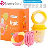 Baby Food Feeder / Fruit Feeder Pacifier - Infant Teething Toy Nibbler Teether and Silicone Food Pouches in Appetite Stimulating Colors 2018 ver by NatureBond | Bonus Includes All Sizes Silicone Sacs