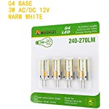 Weanas® 4x G4 Base 48 LED Light Bulb Lamp 3 Watt AC DC 12V/10-20V Warm White Undimmable Equivalent to 20W T3 Halogen Track Bulb Replacement 360° Beam Angle