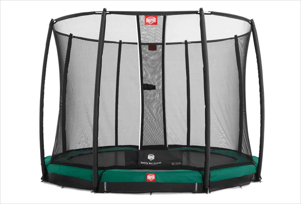 BERG InGround Champion 270 9ft Trampoline+ Safety Net Deluxe Green ...