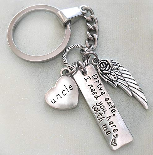 Uncle, Drive Safe Keychain or Backpack Clip, I Need You Here With Me, Travel Protection, Angel Wing