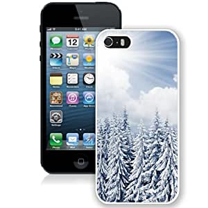 NEW Unique Custom Designed iPhone 5S Phone Case With Sun Shine Over Winter Pine Forest_White Phone Case