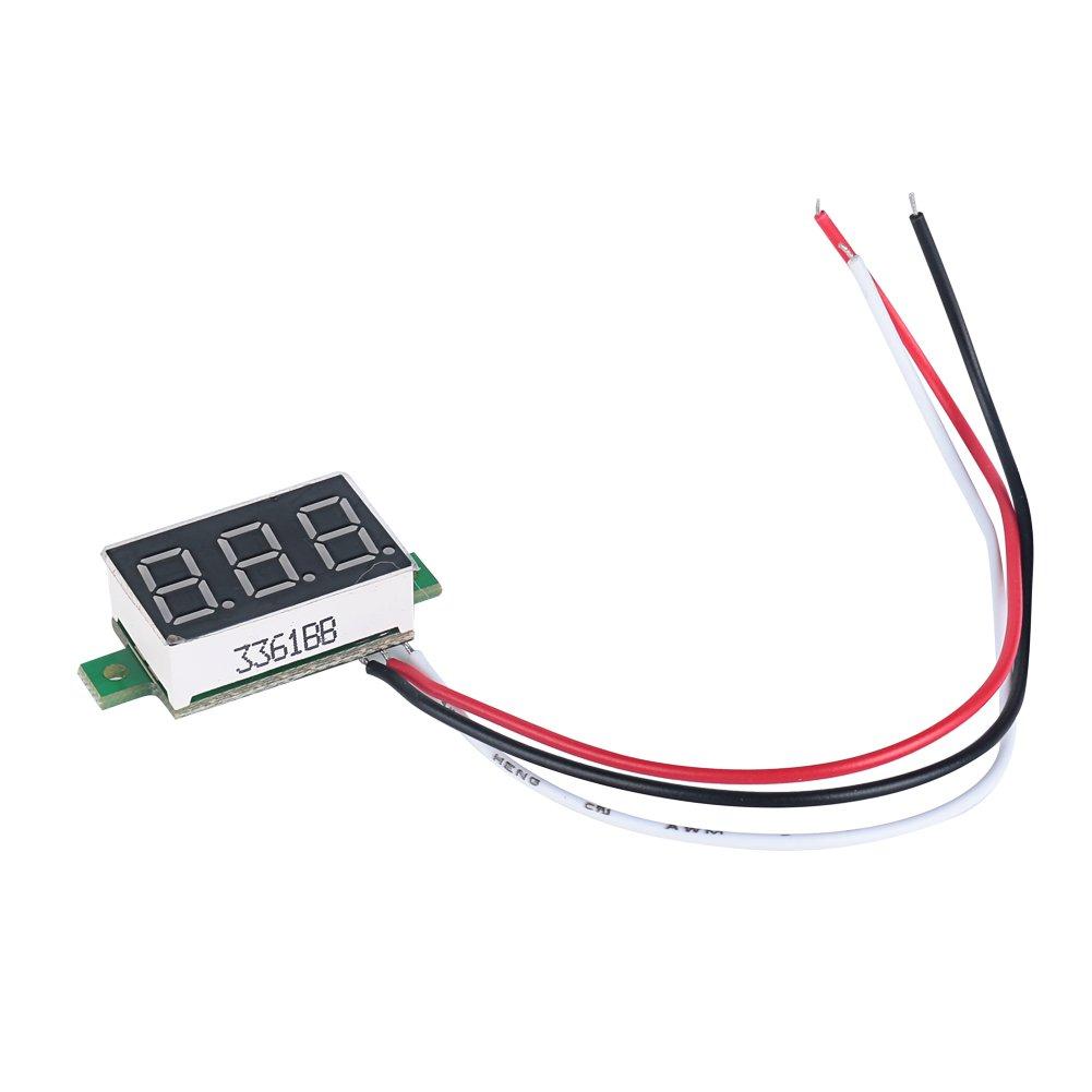 3 c/âbles plage de mesure 0-100 V DC entr/ée 5 V ELENKER Lot de 3 mini voltm/ètres num/ériques // indicateurs /à LED 30 V DC bleu