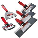 Wal-Board Blue Steel Drywall Taping Knife Set Soft Grip - 4 Knives + Mud Scoop
