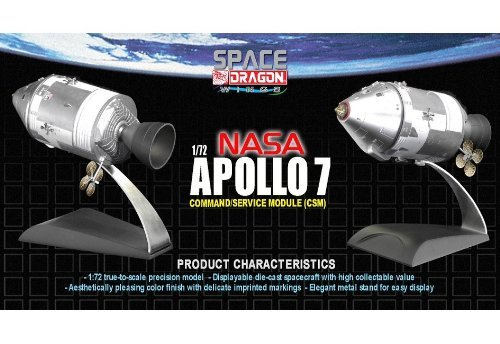 Space Dragon Wings 1/72 NASA Apollo 7 CSM (command ship machinery Ship) (painted die-cast model finished product)