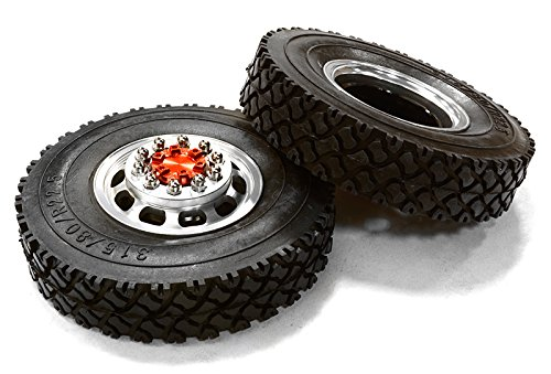 Integy RC Model Hop-ups C26574RED Machined Alloy T5 Front Wheel & XC Tire Set for Hex Type 1/14 Scale (Maxx Front Tire)