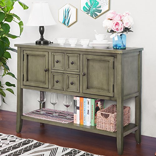 P PURLOVE Console Table Buffet Sideboard Sofa Table with Four Storage Drawers Two Cabinets and Bottom Shelf Grey