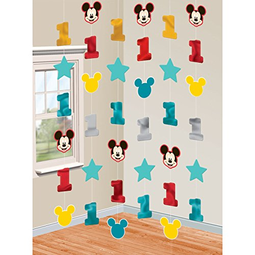 1st Birthday Mickey Mouse String Decorations 6 count Party Supplies Mickey Fun to be One!