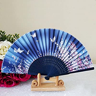 Vibola Chinese Wind Dance Fan Pattern Folding Dance Wedding Party Lace Silk Folding Hand Held Flower Fan (B): Arts, Crafts & Sewing