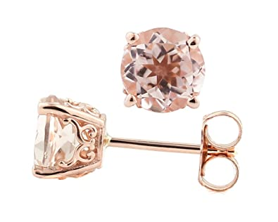 2a1d7cf6a Amazon.com: Solid 14k Rose Gold Morganite Stud Earrings (5mm round ...