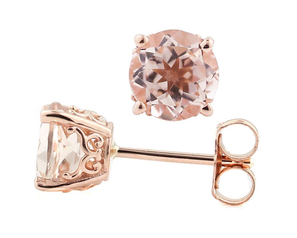 Solid 14k Rose Gold Morganite Stud Earrings (6mm round, 1.5cttw)