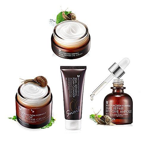 [MIZON] Snail Repair Skin Care Pack of 4 (Foam Cleanser 60ml + Intensive Ampoule 30ml + Eye Cream 25ml + All In One Cream 75ml) from MIZON