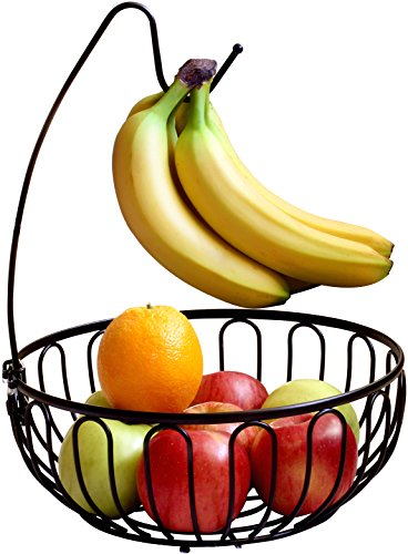 Review DecoBros Wire Fruit Tree Bowl with Banana Hanger, Bronze