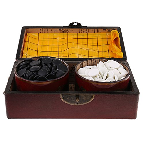 SunniMix 木製 ボックス 囲碁 チェス盤 黒/白チェスピース チェスゲーム おもちゃの商品画像
