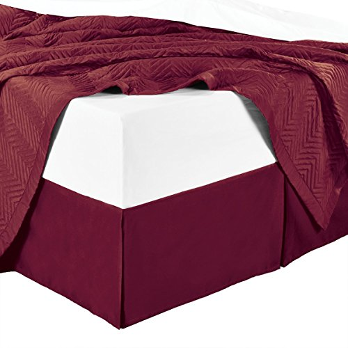 - sheetsnthings Microfiber Bed Skirts (14 inch Drop) -Full Size, Solid Burgundy- Pleated Tailored Bedskirts with Split Corners