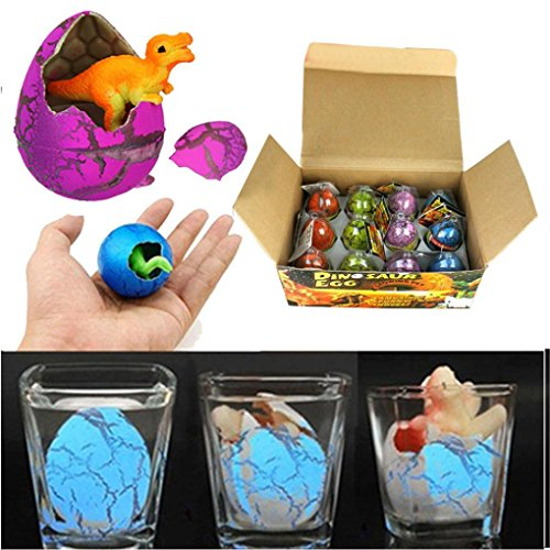 Tiean 12pcs/set Magic Hatching Dinosaur Add Water Growing Dino Eggs Inflatable Kid Toy (A) by Tiean