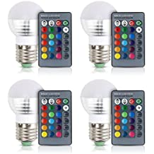 [4 Pack] Aifulo E27/E26 3W Dimmable 16 Colors Changing RGB LED Light Bulb with IR Remote Control for Home, Bar, Party, KTV Mood Ambiance Lighting