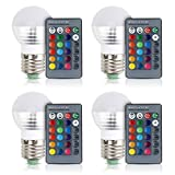 Best Bulb Lights With IR Remotes - [4 Pack] Aifulo E27/E26 3W Dimmable 16 Colors Review