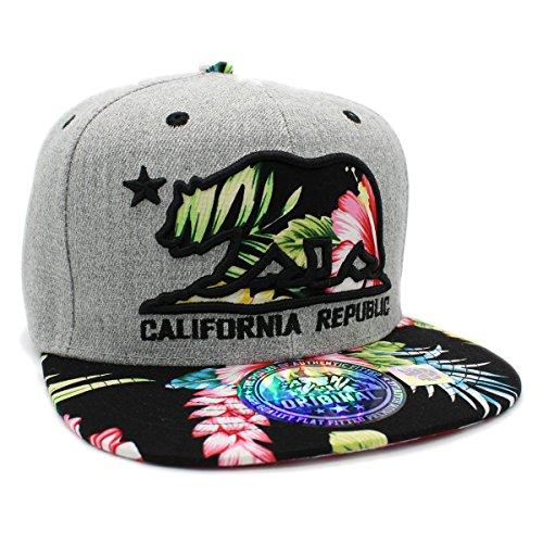 LAFSQ Embroidered California Republic Bear Hawaiian Flower Printed Snapback Baseball Hat - Snapback Flower Hats
