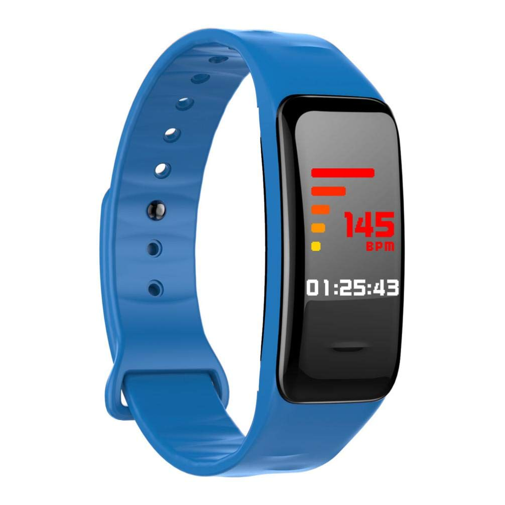 SUKEQ Heart Rate Monitor Bracelet, Waterproof Smart Fitness Wristband with Step Counter, Calorie Counter, Pedometer Watch for Kids Women and Men, Android & IOS (Blue)