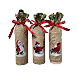 Axiba Christmas Wine Bottle Cover Holiday Red Wine Bags Wine Gift Bags Champagne Bags Santa Claus, Snowman and Reindeer Party Christmas Decorations Hotel Bar Kitchen Table Decor