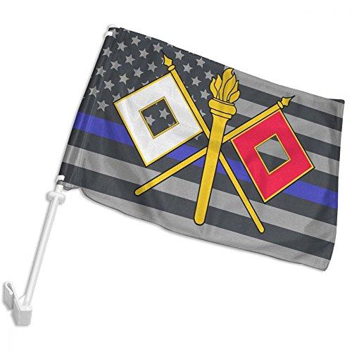 LWHXYEAB Thin Blue Line American Flag US Army Signal Corps Logo Car Flag,Car Window Flag,Hooks Onto Car Window,12 X (Signal Flag Hook)
