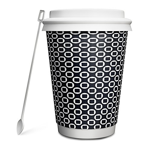 Hornbit Double Wall Insulated Disposable Paper Coffee Cup with Lid, Sleeve and Stirrer, Pack of 50, 12 Ounce, Ellipse Art Design