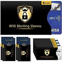 Bloqueo RFID, Gritin 18-Paquetes Protectores de Bloqueo para Tarjetas de Credito, Pasaporte,Débito, Identificaciones y…