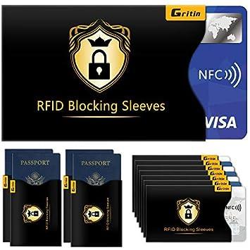 Bloqueo RFID, Gritin 18-Paquetes Protectores de Bloqueo para ...