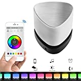 OVEVO Z1 Melody Smart Bluetooth 4.0 Speaker Mini Light Focus Intelligent LED Night Lamp Touch Panel Button Wireless music Player Handsfree Call Alarm Clock for iPhone Samsung S6 HTC iPad PC (White)