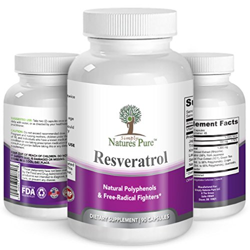 Resveratrol 1400mg 90 Veggie Capsules- Potent Complex of 98 Trans Resveratol Vitamin C Extracts from Japanese Knotweed Acai Berry Green Tea Leaf Grape Seed Extract amp More Discount