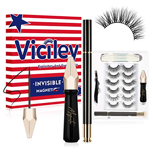 Invisible Magnetic Eyelashes with Eyeliner Kit, Viciley Luxurious Magnetic False Lashes EXTRA Lightweight MORE Comfortable, 6 Pairs Reusable Fake Eyelashes 2 Liquid Eyeliners, Daily Christmas