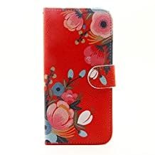 "Shell 5.0""Sony Xperia M4 Aqua Phone Case,Sony Xperia M4 Aqua Back cover,PU Leather [Flip Wallet Case] Stand Protector Shell Cover for Sony Xperia M4 Aqua Case-Orange flower"