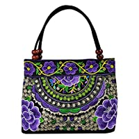 Cupcinu Ethnic Style Ladies bag Chinese Embroidered Handbag Embroidery Ethnic Canvas Bags Fashion Handmade Flowers Ladies Tote Shoulder Bags Phone Shoulder Bags size 312310.5 cm (purple)