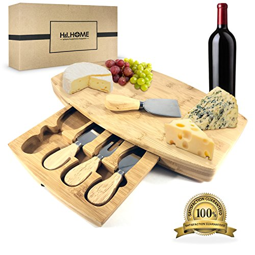 H&L HOME Bamboo Cheese Board Set with 4 Serving Knives and Removable Storage Drawer