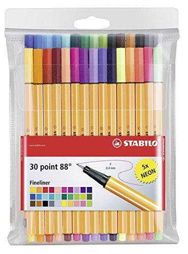 STABILO point 88 - Pochette de 30 stylos-feutres pointe fine - dont 5 couleurs fluos