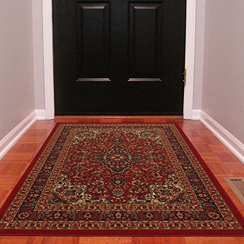 "Ottomanson Ottohome Persian Heriz Oriental Design Area Rug with Non-Skid Rubber Backing, Red, 98"" L x 118"" W"