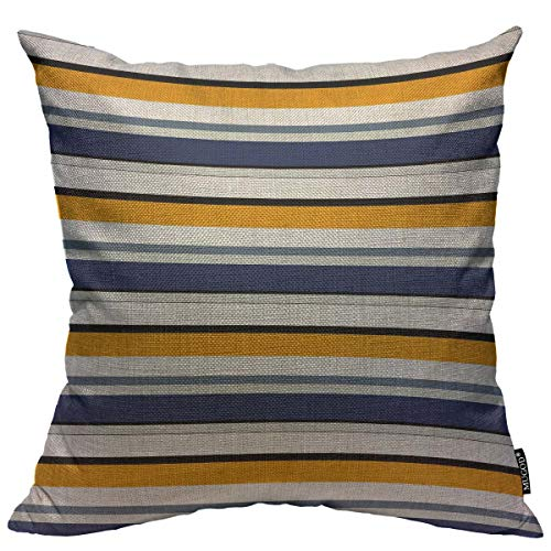 Mugod Striped Seamless Pattern Decoration Throw Pillow Cushion Covers Colored Horizontal Parallel Stripes Decorator Funny Pillows for Sofa Fall Home Decor Couch Pillow Case 18 X 18 Inch